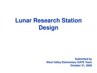 Lunar Research Station  Design