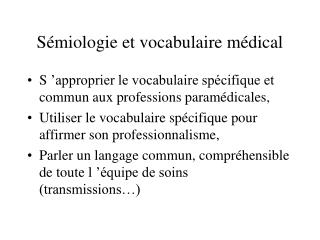 S miologie et vocabulaire m dical