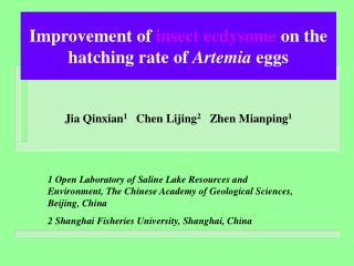 Improvement of insect ecdysome on the hatching rate of Artemia eggs