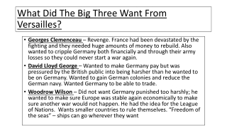 What Did The Big Three Want From Versailles?