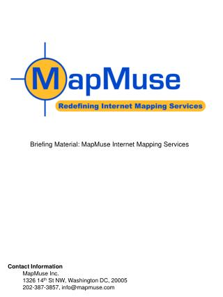 Briefing Material: MapMuse Internet Mapping Services
