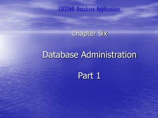 Database Administration  Part 1