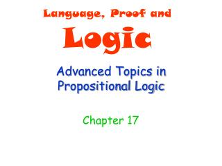 Advanced Topics in Propositional Logic
