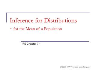 Inference for Distributions -  for the Mean of a Population