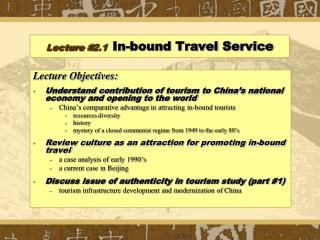 Lecture # 2.1 In-bound Travel Service