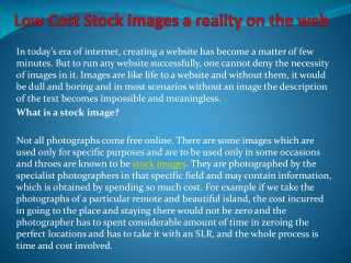"""Low Cost Stock Images a reality on the web """