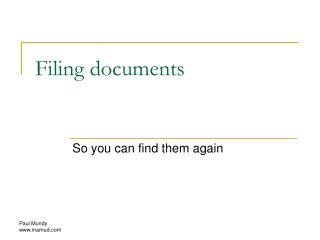 Filing documents