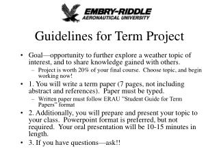 Guidelines for Term Project