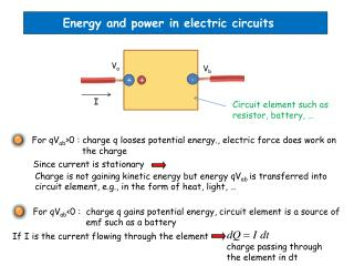 Energy and power in electric circuits