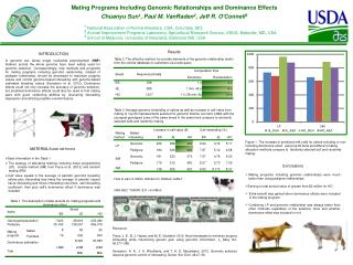 Mating Programs Including Genomic Relationships and Dominance Effects Chuanyu Sun 1 , Paul M. VanRaden 2 , Jeff R. O'Co