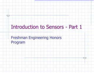 Introduction to Sensors - Part 1