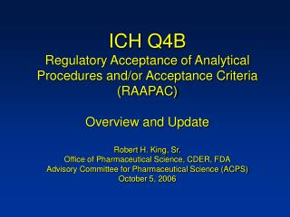 ich q4b regulatory acceptance of analytical procedures and
