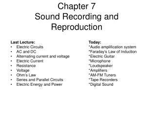 Chapter 7  Sound Recording and Reproduction