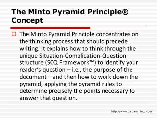 The Minto Pyramid Principle® Concept
