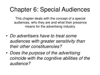 Chapter 6: Special Audiences