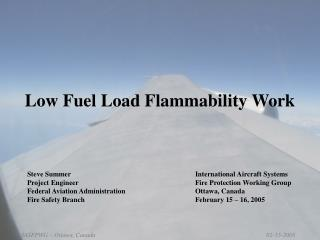 Low Fuel Load Flammability Work