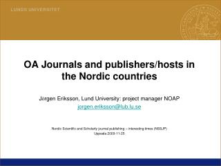 OA Journals and publishers/hosts in the Nordic countries