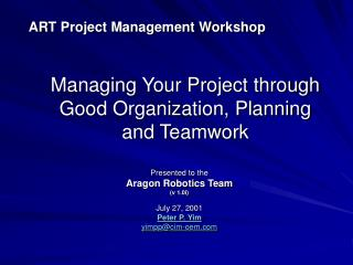 ART Project Management Workshop