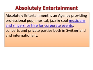 Exclusive music and musicians for your next event!