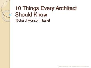 10 Things Every Architect Should Know