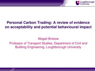 Personal Carbon Trading: A review of evidence on acceptability and potential behavioural impact