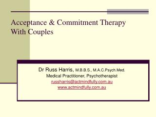 Acceptance & Commitment Therapy With Couples