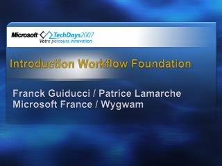 Introduction  Workflow Foundation