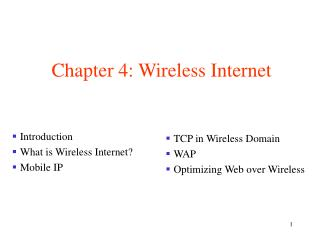 Chapter 4: Wireless Internet