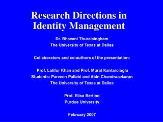 Research Directions in Identity Management