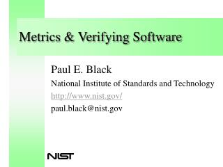 Metrics  Verifying Software