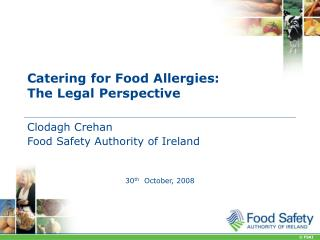 Catering for Food Allergies: The Legal Perspective