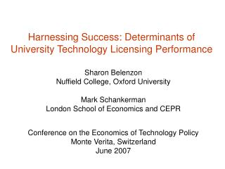 Harnessing Success: Determinants of University Technology Licensing Performance