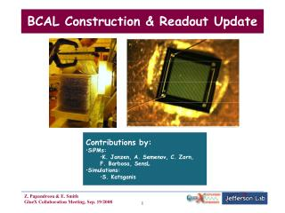 BCAL Construction & Readout Update