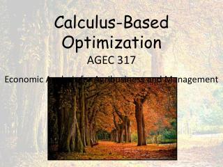Calculus-Based Optimization AGEC 317 Economic Analysis for Agribusiness and Management