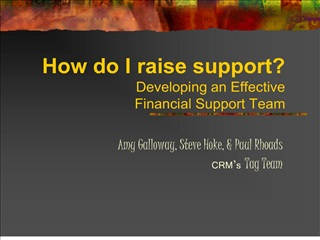 how do i raise support  developing an effective  financial support team