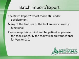 Batch Import/Export