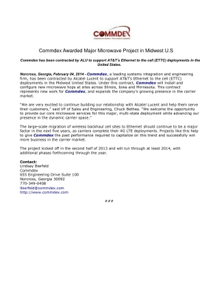 Commdex Awarded Major Microwave Project in Midwest U.S