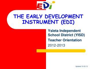THE EARLY DEVELOPMENT INSTRUMENT (EDI)