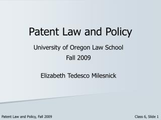 Patent Law and Policy