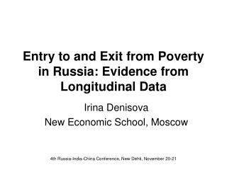 Entry to and Exit from Poverty in Russia: Evidence from Longitudinal Data