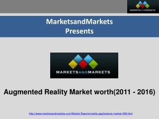 Augmented Reality (AR) Market worth $5151.74 Million by 2016