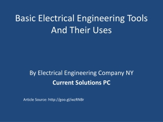 Basic Electrical Engineering Tools