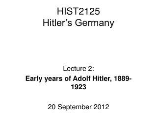 HIST2125 Hitler's Germany