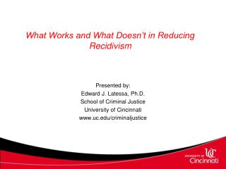 What Works and What Doesn't in Reducing Recidivism