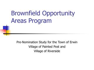 Brownfield Opportunity Areas Program