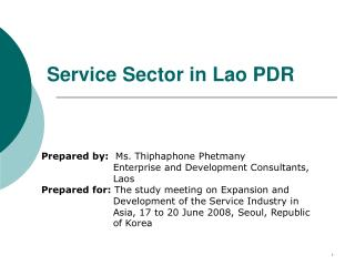 Service Sector in Lao PDR