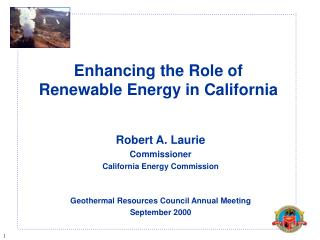 Enhancing the Role of Renewable Energy in California