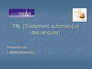 TAL (Traitement automatique des langues)