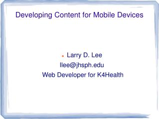 Developing Content for Mobile Devices