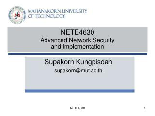 NETE4630  Advanced Network Security  and Implementation